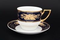 Набор чайных пар Thun Луиза Золотая роза Кобальт 220мл (6 пар)