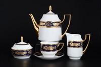 Чайный сервиз на 6 персон 17 предметов Луиза Золотая роза Кобальт