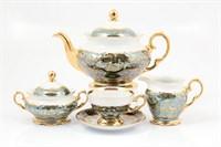 Чайный сервиз на 6 персон Sterne porcelan Зеленый лист 17 предметов