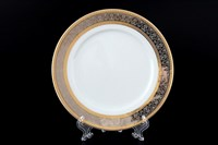 Набор тарелок Thun Опал широкий кант платина золото 19 см(6 шт)