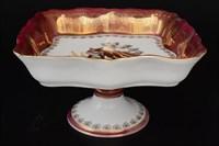 Салатник квадратный 29 см на ножке Queen's Crown Охота красная Корона