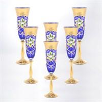 Анжела набор бокалов для шампанского синий Bohemia Star Crystal 190 мл(6 шт)