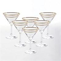 Набор бокалов для мартини Crystalex Bohemia Золотой Лист V-D 210 мл(6 шт), 10*10*15 см.