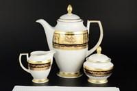 Кофейный набор из 3 предметов Falkenporzellan Diadem Black Creme Gold