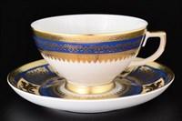 Набор чайных пар Falkenporzellan Diadem Blue Creme Gold 220мл(6 пар)
