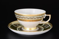 Набор чайных пар Falkenporzellan Diadem Green Mint Gold 220мл(6 пар)