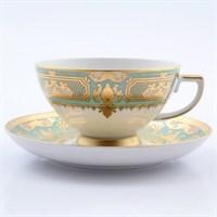 Набор чайных пар Falkenporzellan Donna Seladon gold 220мл