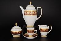 Кофейный сервиз Falkenporzellan Imperial Bordeaux Gold 6 персон 17 предметов