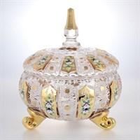 Конфетница с крышкой золото Bohemia Max Crystal