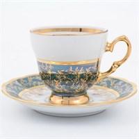 Набор кофейных пар Sterne porcelan Зеленый лист 140 мл (6 пар)