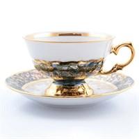 Набор чайных пар Sterne porcelan Зеленый лист 220 мл (6 пар)