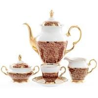 Кофейный сервиз Sterne porcelan Красный лист 6 персон 17 предметов