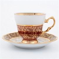 Набор кофейных пар Sterne porcelan Красный лист 140мл(6 пар)