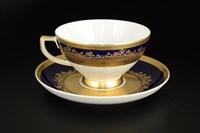 Набор чайных пар Falkenporzellan Constanza Cobalt Gold 220 мл(6 шт)