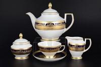 Чайный сервиз на 6 персон Falkenporzellan Constanza Cobalt Gold 17 предметов