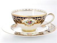 Набор чайных пар Falkenporzellan Opal Cobalt Gold (6 пар)