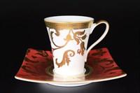 Набор чайных пар Falkenporzellan Tosca Bordeaux Gold 220мл(6 пар)