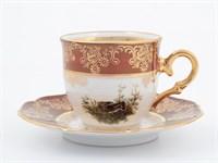 Набор кофейных пар Queen's Crown Охота красная мокко 100мл (6 пар)