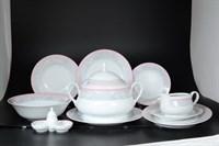 Столовый сервиз Thun Яна Серый мрамор с розовым кантом 6 персон 27 предметов