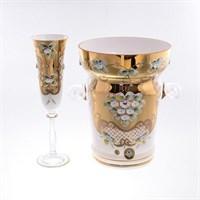 Набор для шампанского 7 предметов Лепка белая E-V