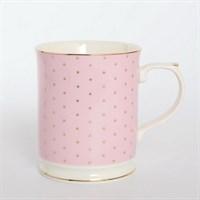 Кружка Royal Classics Розовая золотой горошек 400мл