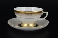Набор чайных пар Falkenporzellan Rio White Gold 220мл (6 пар)