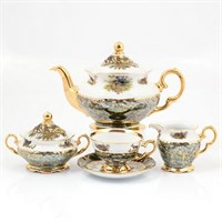 Чайный сервиз на 6 персон 17 предметов Охота Зеленая Sterne porcelan