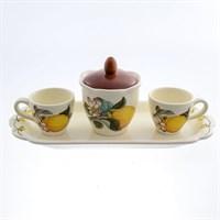 Кофейный набор на подносе NUOVA CER Лимоны 5 предметов