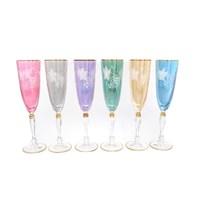 Набор фужеров для шампанского Art Decor синий (6 шт)200мл