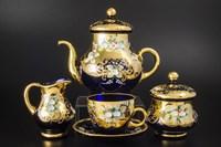 Чайный сервиз на 6 персон 15 предметов Лепка синяя E-S