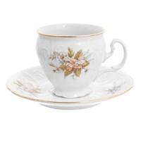 Набор кофейных пар Bernadotte Зеленый цветок 170 мл(6 пар)