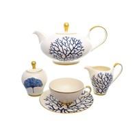 Чайный сервиз Falkenporzellan Corallo Blue Gold на 6 персон 17 предметов
