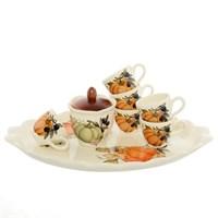 Кофейный сервиз NUOVA CER Тыква 8 предметов (6 кружек + сахарница с крышкой на подставке)