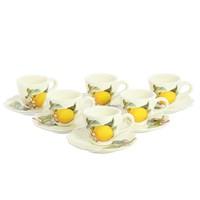Набор кофейных пар 6 чашек + 6 блюдец 12 предметов NUOVA CER Лимоны