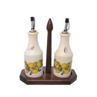 Набор из 2-х бутылок для масла и уксуса на деревянной подставке LCS Лимоны 275 мл