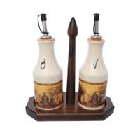 Набор из 2-х бутылок для масла и уксуса на деревянной подставке LCS Натюрморт 275 мл
