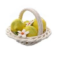 Корзина декоративная круглая с лимонами 20 см