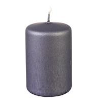 Свеча классическая Adpal 9/5,8 см металлик серый