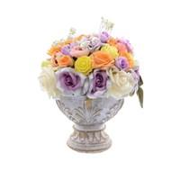 Цветы ваза малая с листями Белая