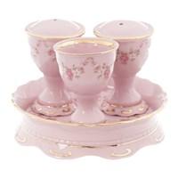 Набор для приправ 4 предмета Соната Мелкие цветы Розовый фарфор