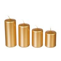 Набор свечей Adpal Gold mix (4 шт) 7,8,10,12/5 см металлик золотой