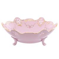 Салатник на трёх ножках Leander Соната Мелкие цветы Розовый фарфор 17см