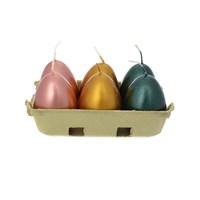 Набор свечей Adpal Пасхальные яйца (6 шт) 6/4,5 см металлик