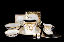 Столовый сервиз на 6 персон 27 предметов Tosca Black Gold