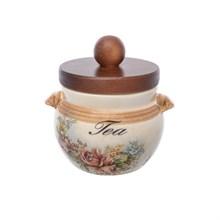 Банка для чая с деревянной крышкой LCS Элианто диаметр 9 см, высота 9 см