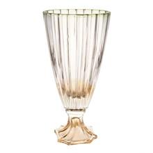 Ваза для цветов на ножке Bohemia Gold Oval зелёная 30см