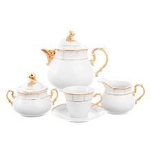 Чайный сервиз на 6 персон Thun Менуэт обводка золото 17 предметов