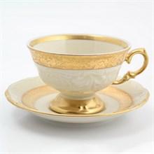 Набор чайных пар 220 мл Матовая лента Слоновая кость Sterne porcelan (6 пар)