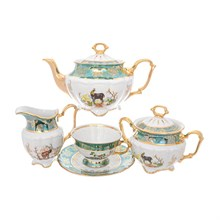 Чайный сервиз Repast Охота зеленая Мария-тереза 15 предметов на 6 персон