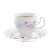 Набор кофейных пар Bernadotte Серая роза золото 170 мл(6 пар)